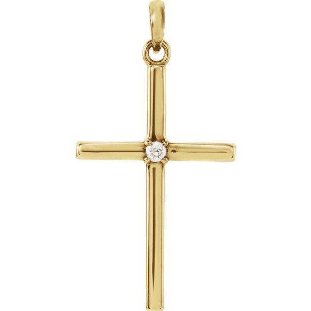 Picture of 14K Gold 26.5x13.75mm .02 CTW Diamond Cross Pendant