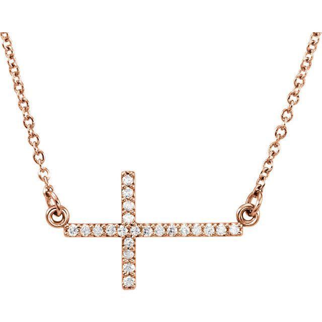 "Picture of 14K Gold 1/8 CTW Diamond Sideways Cross 16-18"" Necklace"