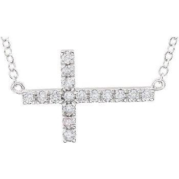 "Picture of 14K Gold 1/5 CTW Diamond Sideways Cross 18"" Necklace"
