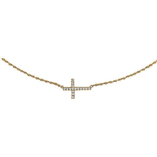 "Picture of 14K Gold 1/5 CTW Diamond Double Sideways Cross 18"" Necklace"