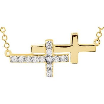 "Picture of 14K Gold 1/5 CTW Diamond Double Sideways Cross 18"" Necklace"