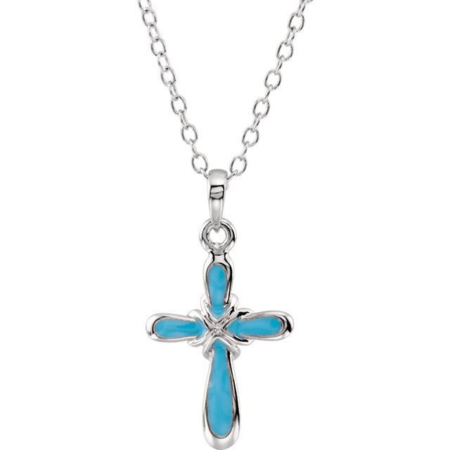 """Picture of Sterling Silver Blue Boy Dedication 14"""" Necklace"""