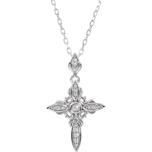 """Picture of Sterling Silver Cubic Zirconia Cross 18"""" Necklace"""