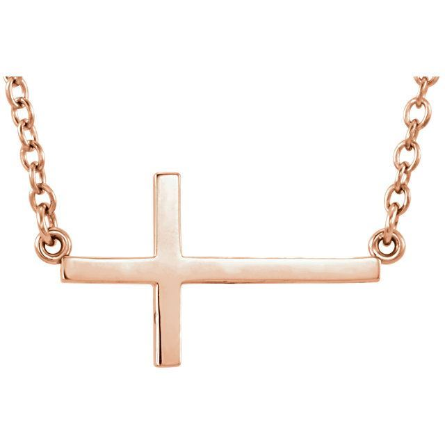 """Picture of 14K Gold Sideways Cross 16-18"""" Necklace"""