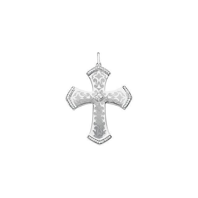 Picture of Sterling Silver Diamond Cross Pendant