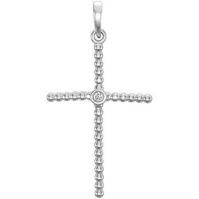 Picture of 14K Gold .02 CTW Diamond Beaded Cross Pendant