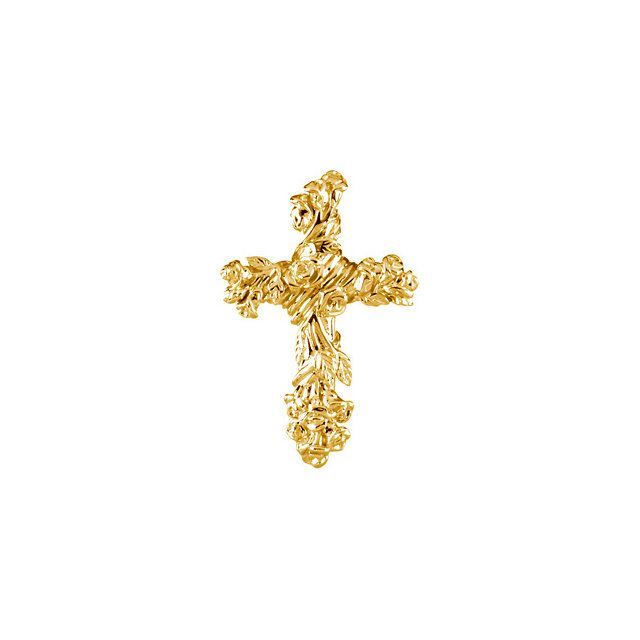 Picture of 14K Gold 26.5x17.5mm Floral-Inspired Cross