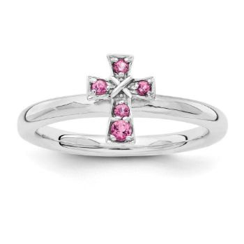 Picture of Silver Cross Ring Pink Tourmaline