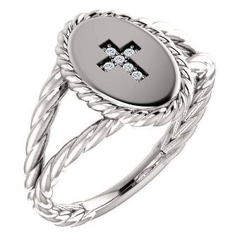 Picture of 14K Gold .02 CTW Diamond Cross Ring