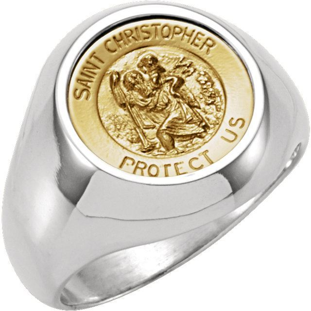Picture of 14K Yellow Gold  & Sterling Silver St. Christopher Round Medal Ring Size Size 7