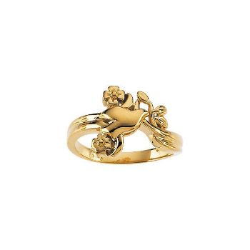 Picture of 14K Gold Holy Spirit Dove & Floral-Inspired Ring