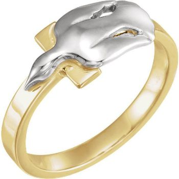 Picture of 14K Gold  Dove with Cross Ring