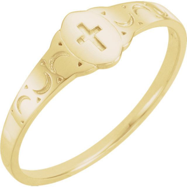 Picture of 14K Gold Youth Signet Ring with Cross Size 3