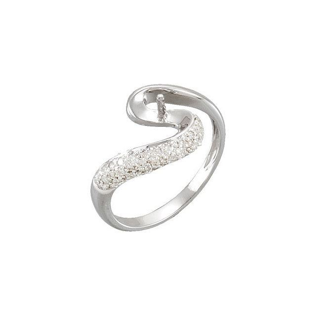 Picture of 14K Gold  1/3 CTW Diamond Semi-set Ring for Pearl