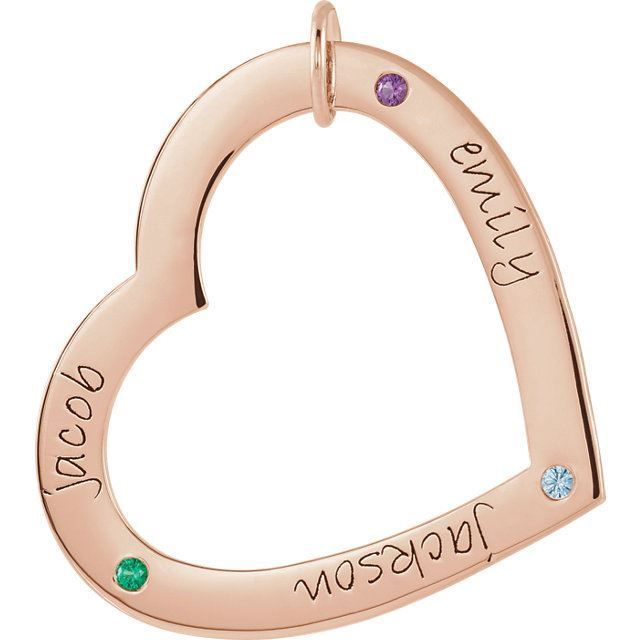 Picture of 3 Names Engravable Large Heart Loop with Stones