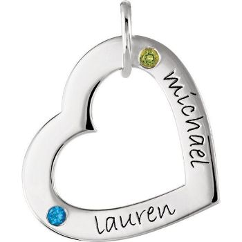 Picture of 2 Names Engravable Large Heart Loop with Stones