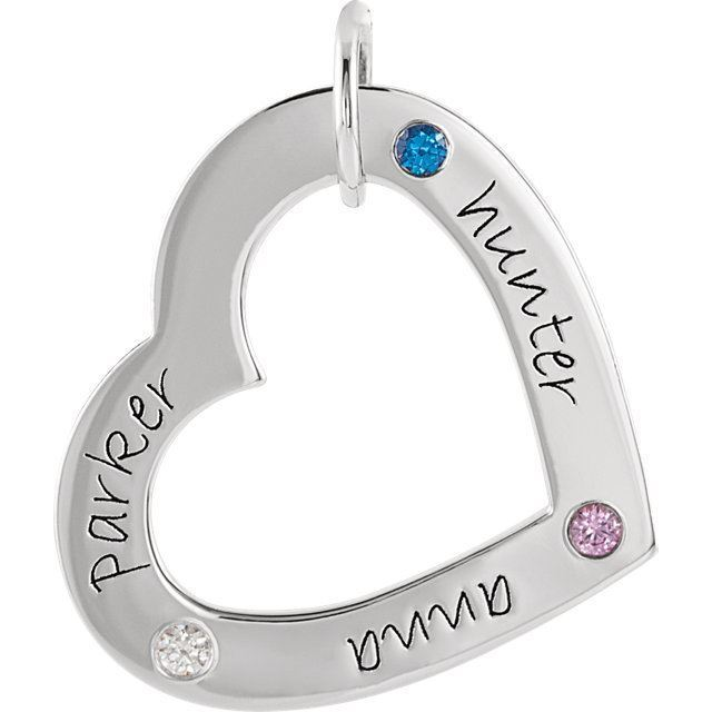 Picture of 3 Names Engravable Medium Heart Loop with Stones