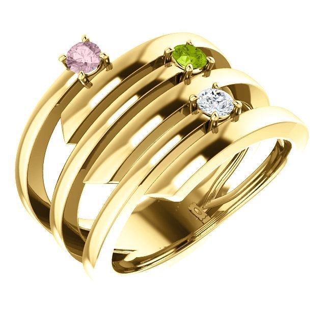 Picture of Gold 1 to 3 Stones/Names Engravable Mother Ring