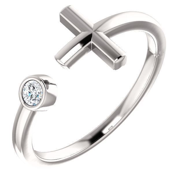 Picture of Sterling Silver Birthstone Cross Ring