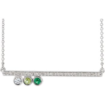 Picture of Gold 1 to 5 Birthstones Diamond Bar Necklace