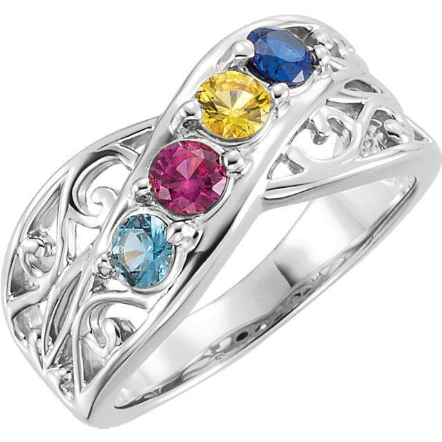 4 stones mom family ring