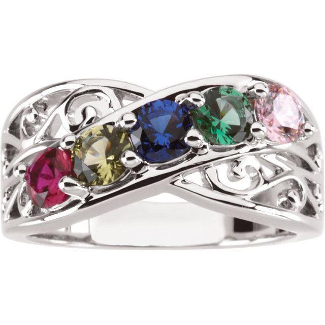 5 stone mom family ring
