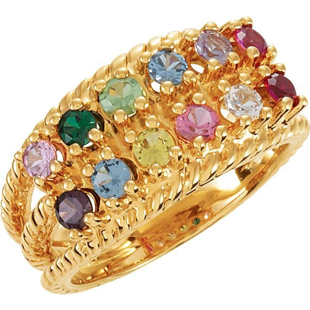 Picture of Gold Mother's Ring 2 to 12 Round Stones