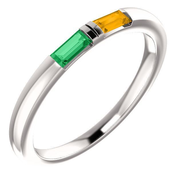 Picture of Silver 1 to 5 Baguette Stones Mother's Ring