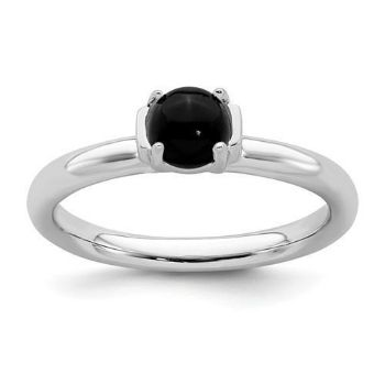 Picture of Silver Natural Black Agate Stone Ring