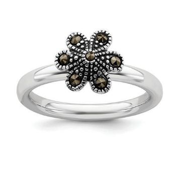 Picture of Silver Stackable Expressions Marcasite Flower Scalloped Ring