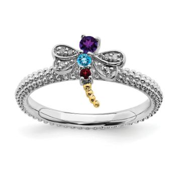 Picture of Silver Dragonfly Ring Multi Color Gemstones