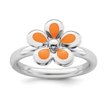 Picture of Silver Stackable Ring 2.25 mm Orange Enameled Flower