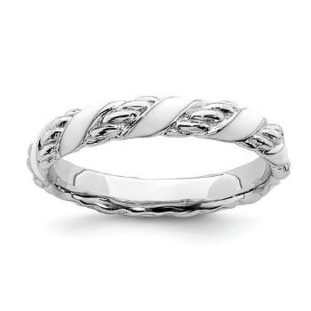 Picture of Silver Stackable Expressions White Enameled Patterned Ring