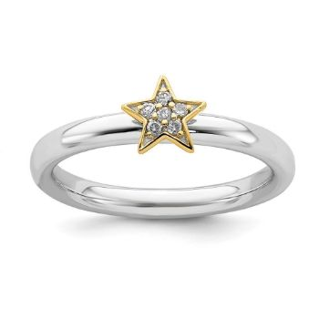 Picture of Sterling Silver Diamond Star Ring