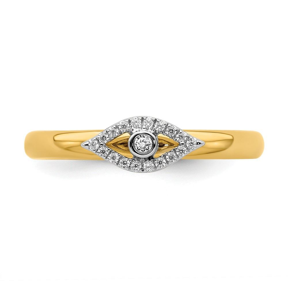 Picture of Diamond Evil Eye Ring Sterling Silver Gold-Plated