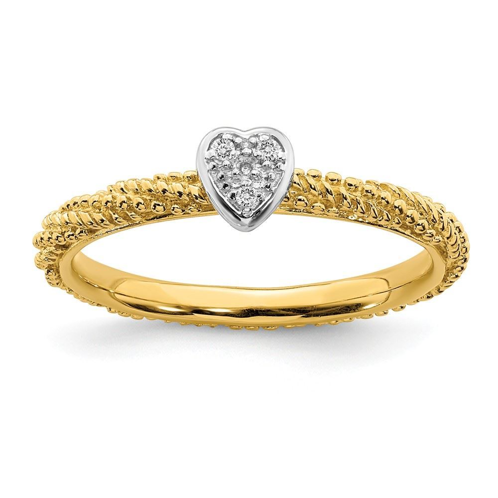 Picture of Diamond Heart Ring Sterling Silver Gold Plated