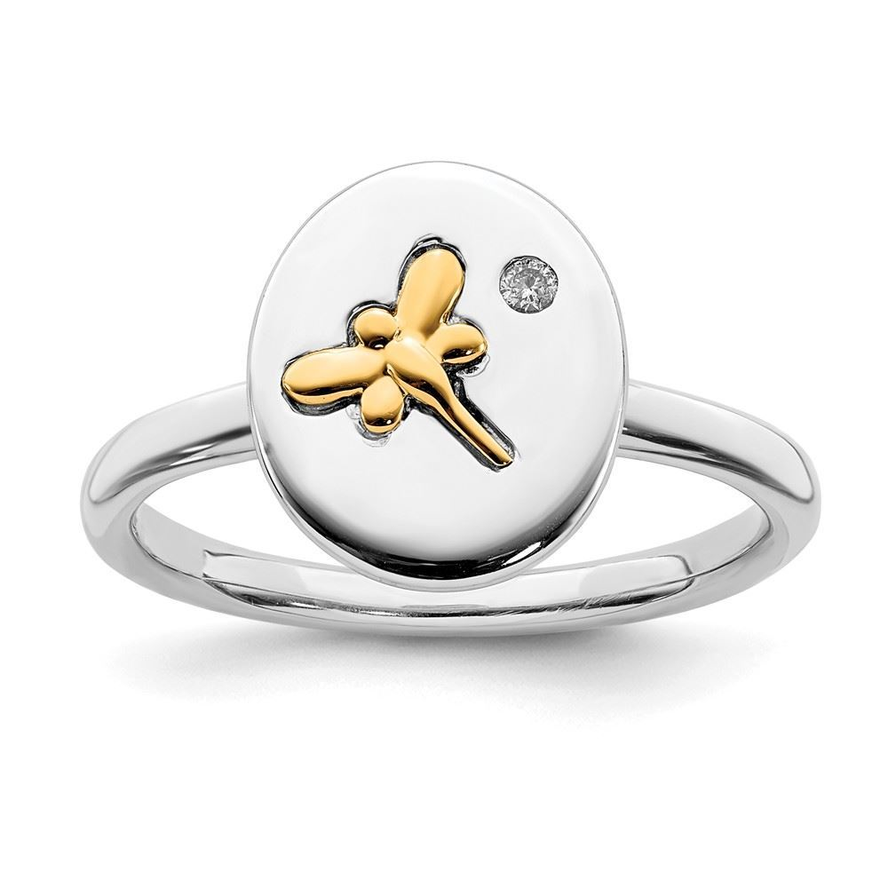 Picture of Diamond 14k Gold Dragonfly Sterling Silver Tow-Tone Ring