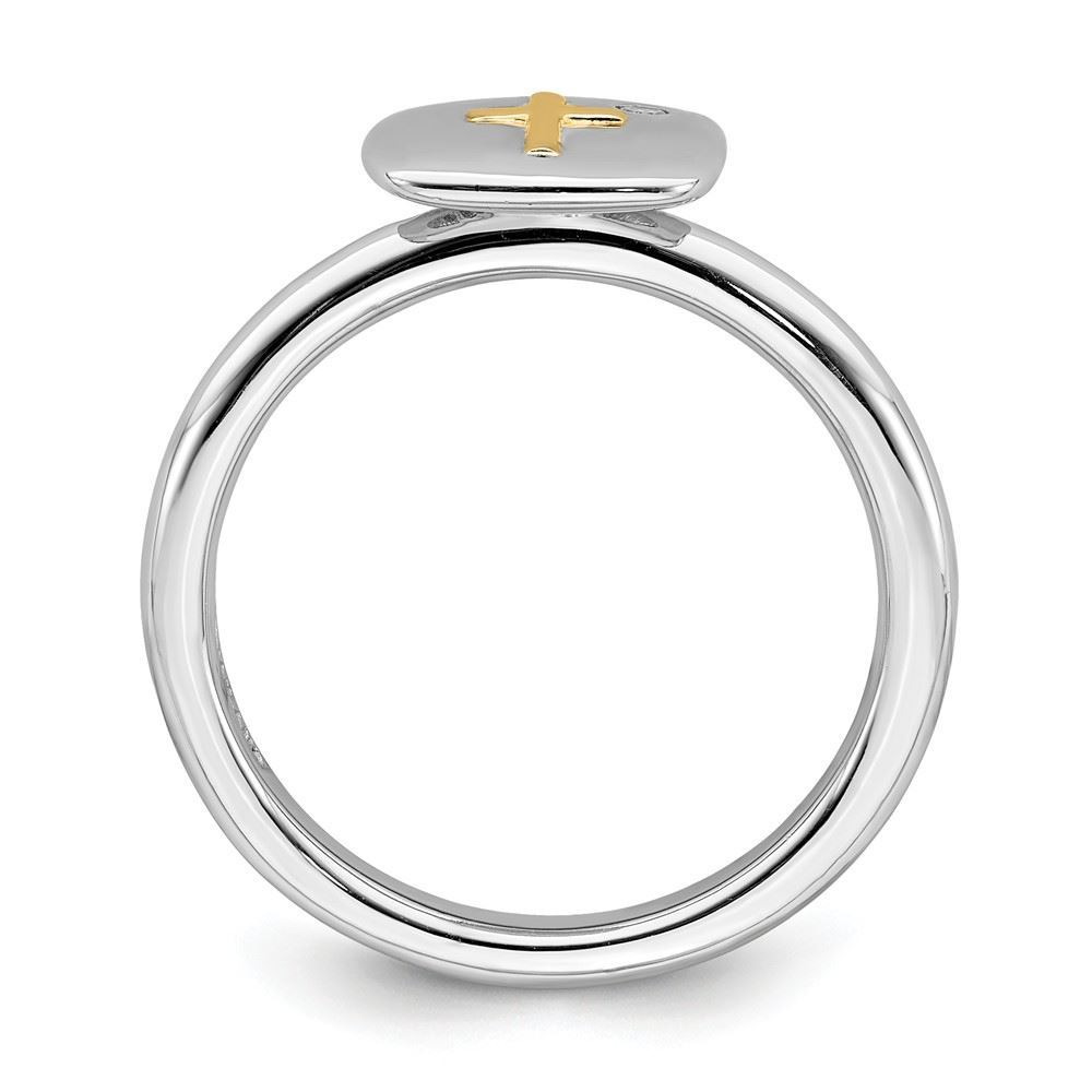 Picture of Diamond 14k Gold Cross Sterling Silver Tow-Tone Ring