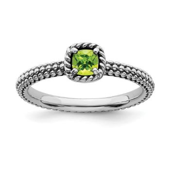 Picture of Silver Fashion Ring Cushion-Cut Peridot Stone