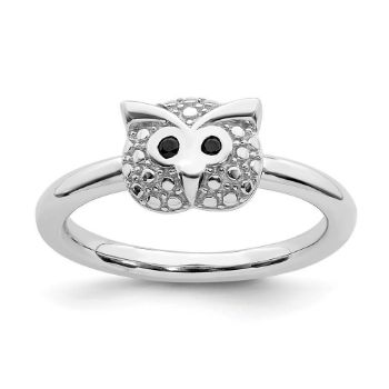 Picture of Silver Onyx  Owl Ring