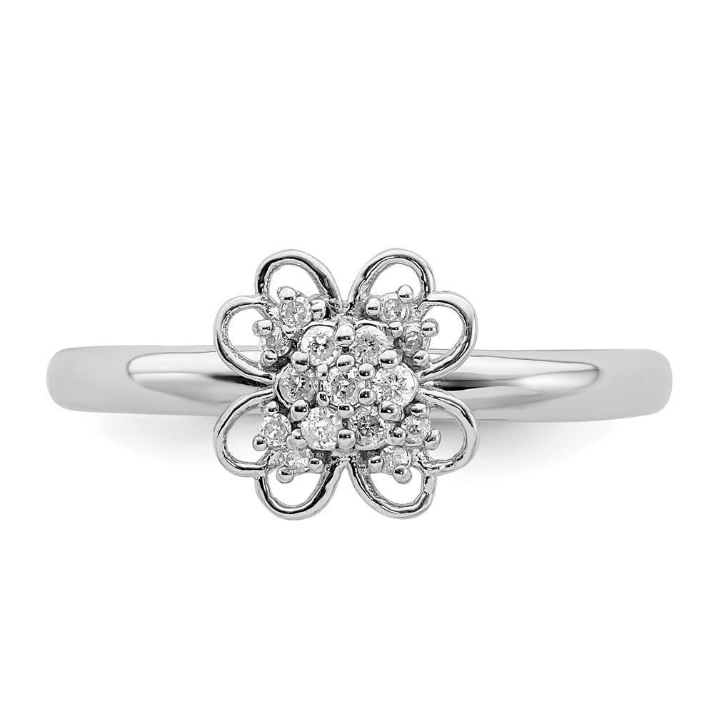 Picture of Diamonds Flower Ring Sterling Silver Rhodium Plated