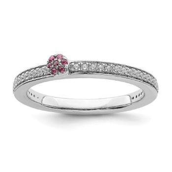 Picture of 14K White Solid Gold Pink Tourmaline and Diamond Stackable Ring
