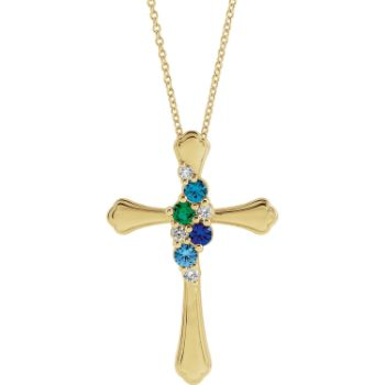 Picture of Cross Gold 1 to 6 Round Stones Mother's Pendant