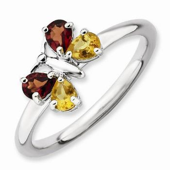 Picture of Silver Butterfly Ring Garnet & Citrine stones