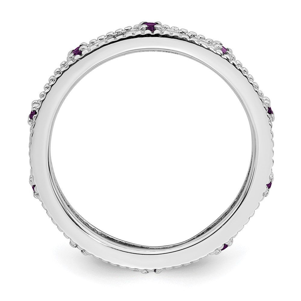 Picture of Sterling Silver Stackable Ring Round Genuine Amethyst February stone