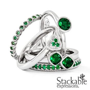 Picture for category May Emerald Stackable Silver Rings