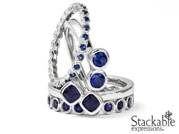 Picture for category September Sapphire Silver Stackable Rings