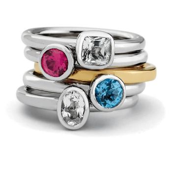Picture for category April White Topaz Stackable Silver Rings