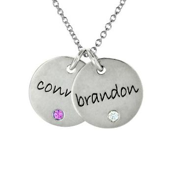 Picture of 2 Discs Name Necklace with Birthstone