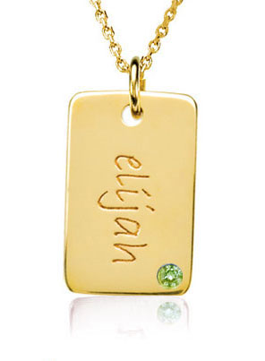 Picture of 1 Mini Dog Tag with Stone